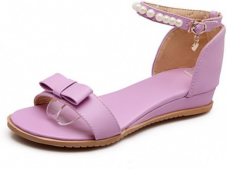 AmoonyFashion Women's Solid PU Low-Heels Open Toe Buckle Wedges-Sandals