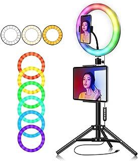 Kit de luces coloridas de anillo LED de 10con soporte para trípode de cámara Kit de iluminación para video y fotografía Selfie Desk Makeup con teléfono celular USB Live Streaming Circle Light