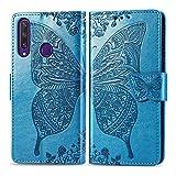 Custodia per Huawei Y6P, in pelle PU, con scomparti per tessere, funzione di supporto, chiusura magnetica, per Huawei Y6p – DESD021763, colore: blu