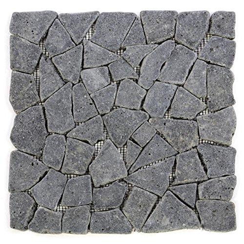 Divero HF55536 11 Fliesenmatten Naturstein Mosaik aus Andesit für Wand und Boden grau á 30 x 30 cm