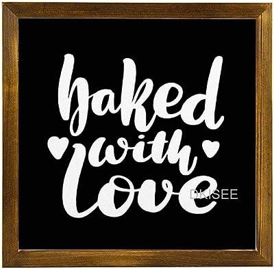 Dkisee Tableau Noir Avec Inscription En Anglais Baked With Wood Sign Avec Cadre En Bois Decoration Murale 30 X 30 Cm Amazon Fr Cuisine Maison