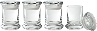 JUVITUS 8 oz Candle Glass Jar with Airtight Glass Cover Lid (4 Pack)