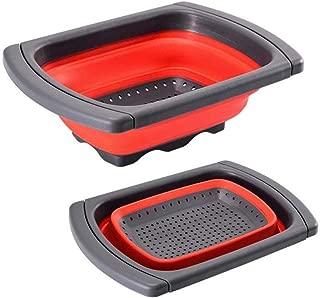Jaer Colander collapsible, Colander Strainer Over The Sink Vegtable/Fruit Colanders Strainers With Extendable Handles, Folding Strainer for Kitchen,6 Quart (Red)
