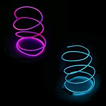 2Pack Neon Light EL Wire High Bright Glowing with Battery Controller for Burning Man Halloween Christmas Party DIY Costumes Decoration-9ft (Purple Iceblue)