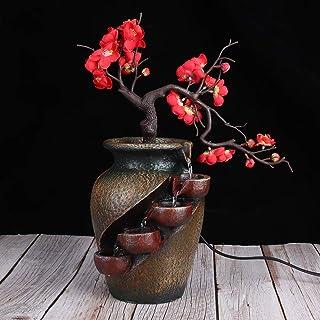 Pbzydu Fuente de Escritorio Adorno de Fuente de Agua de Resina de Mesa para Vivir Decoración de la Sala de té Enchufe de ...