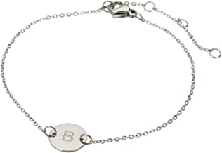 HUAN XUN Stainless Steel Engraved Initial Bracelet Adjustable, 7.87