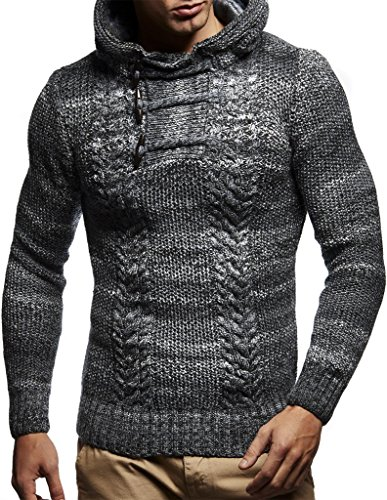 Leif Neslon LN20743 Men's Knitted Pullover with a Hood; Size XL, Black