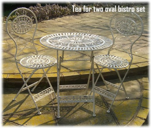 The Somerset Shop Cream Folding Steel & Cast Iron Bistro Set 2 Chairs & Oval Table
