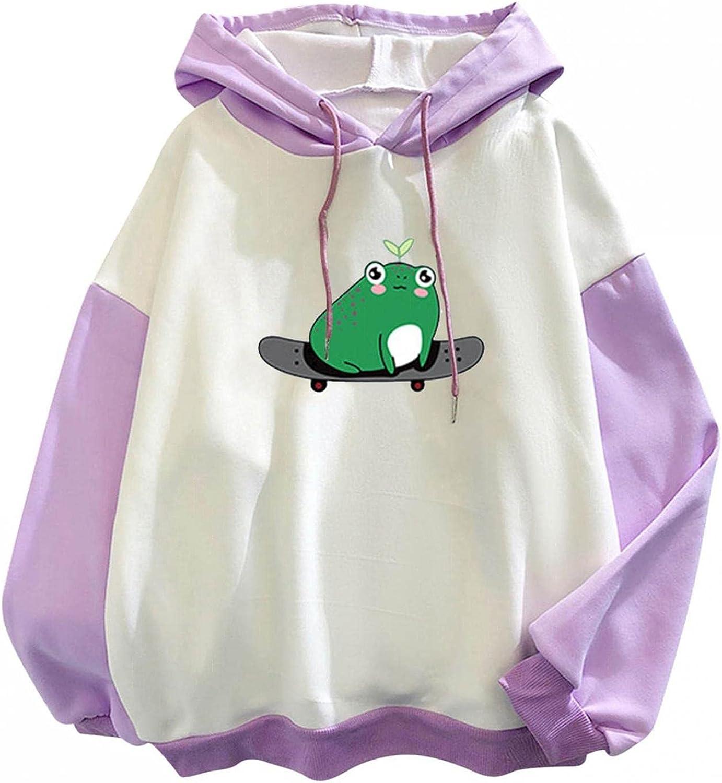 Aiouios Hoodies for Teen Girl Trendy Anime, Womens Crewneck Sweatshirts Skateboarding Frog Aesthetic Comfy Pullover Tops