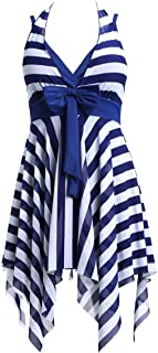 BIKMAN Navy Blue White Stripes Swim Dress Plus Size Swimwear One Piece Swimsuit