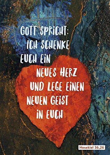 Postkarte zur Jahreslosung 2017 - 15 Karten im Set: Gott spricht: Ich schenke euch ein neues Herz und lege einen neuen Geist in euch (Hesekiel 36,26)
