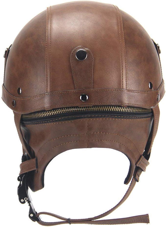 Motorcycle Helmet Helmet, Motorcycle Halle Retro Pedal Locomotive Cruise Leather Helmet Four Seasons Men Women Road Helmet