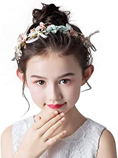 Campsis Cute Princess Tiara Pearl Flowers Headpiece Dragonfly Headband Colorful Hair Accessory for First Commnuin for Girls