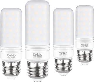 Tebio LED Plata Maíz Bombillas 15W E27 3000K Blanco Cálido LED Candelabros bombillas, 120W Bombilla Incandescente Equivalente, 1500LM, LED vela Bombillas No regulables(4 Packs)