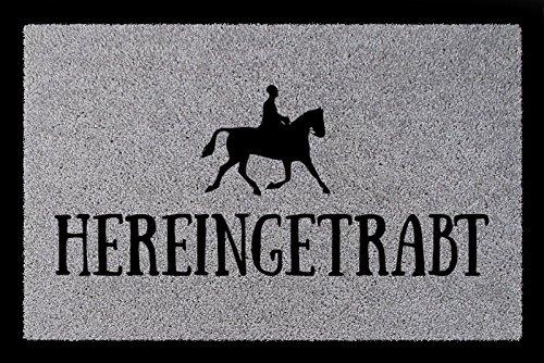 Interluxe TÜRMATTE Fußmatte HEREINGETRABT Hobby Reiten Pferd Stall Türvorleger Geschenk Hellgrau