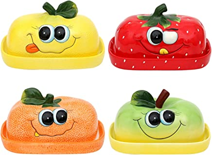 Preisvergleich für Holzkunst Sigro Keramik Butterdose lustige Früchte Verschiedene Varianten zur Auswahl Erdbeere Zitrone Orange oder Apfel Küche Geschirr Geschenkidee (Butterdose Zitrone)
