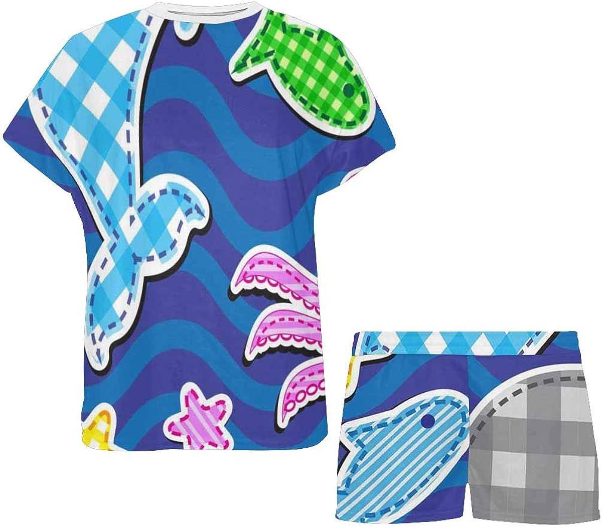INTERESTPRINT Colorful Marine Animals Women's Lightweight Pajama Set, Short Summer Pjs