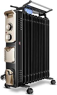 Calentadores eléctricos Aceite eléctrica Llenado del radiador, Portátil habitación completa radiante Calentador con termostato ajustable, negro Calefactor portátil