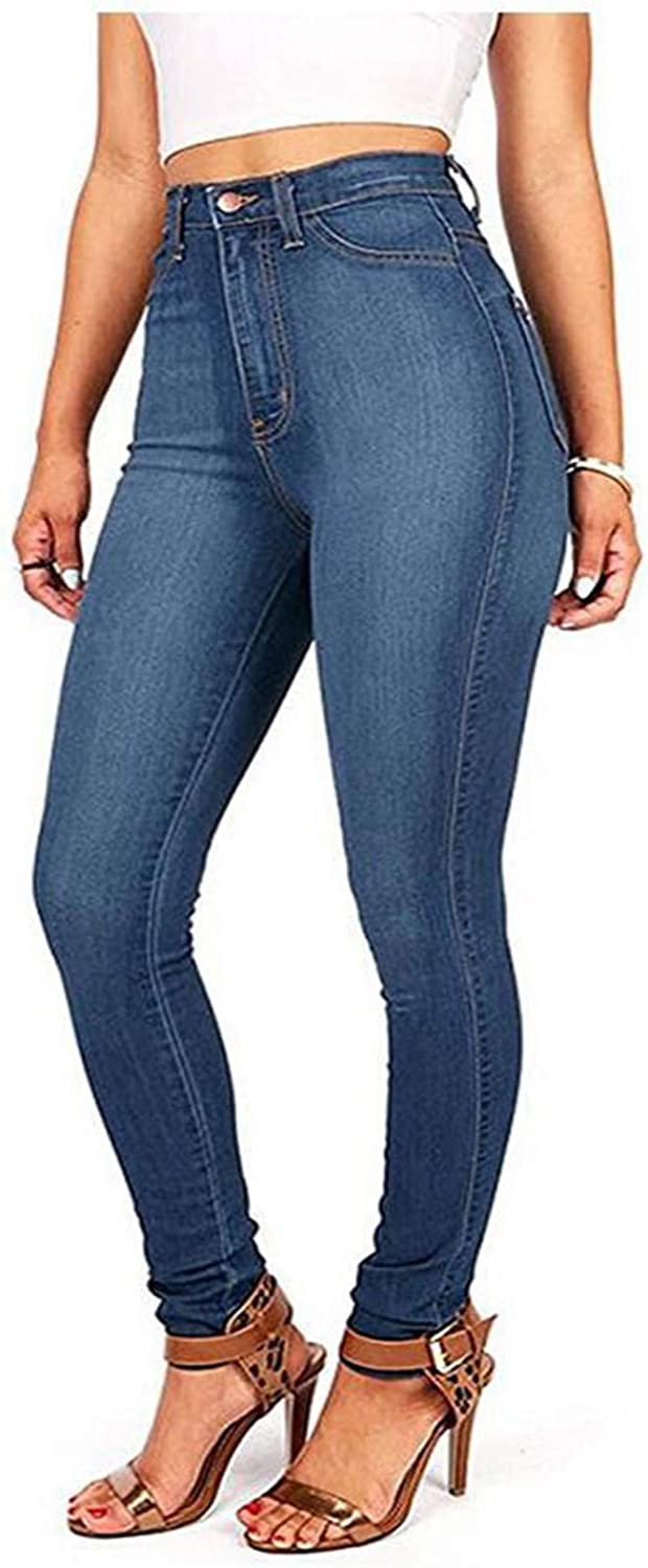 Fankle Women High Waisted Skinny Denim Jeans Butt Distressed Solid Stretch Jeans