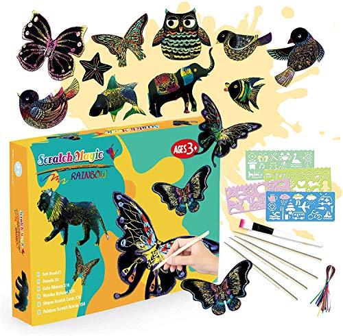 SilverBat - Juego de tabla de rascar para niños, 50 hojas de papel para rascar para dibujar y hacer manualidades, con plantillas y bolígrafos de madera, para niños y niñas de 3 a 12 años