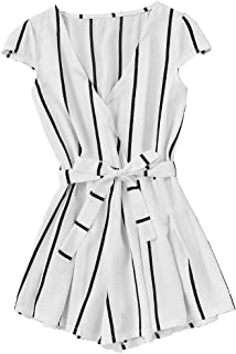 4a139be6e9be Romwe Women s Casual Vertical Striped Jumpsuit Romper with Belt