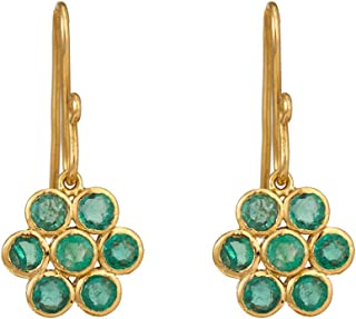 Gehna Yellow Gold and Emerald Drop Earrings for Women