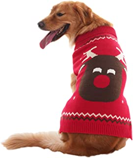 OFPUPPY Reindeer Dog Sweater Red Christmas Style Puppy Winter Coat for Girl and Boy Pets from Small to Large Size ¡­