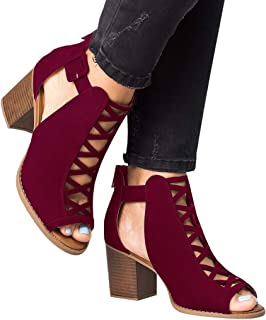 Womens Cutout Open Toe Sandals Chunky Block High Heel Lace Up Booties