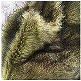 Brown Black Faux Wolf Pelz Stoff Shaggy Für DIY Handwerk,