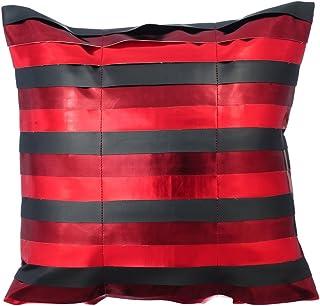 rojo funda cojin, 65x65 cm cojines para sofas, cuero metalizado brillante rayas de cuero fundas de cojines decorativos, Cuero de imitación fundas para cojines de sofa de sofa - OMG Its Red