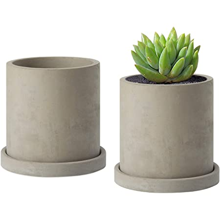 Amazon Com Mygift 4 Inch Gray Concrete Succulent Planter Pots With Bamboo Trays Set Of 4 Garden Outdoor