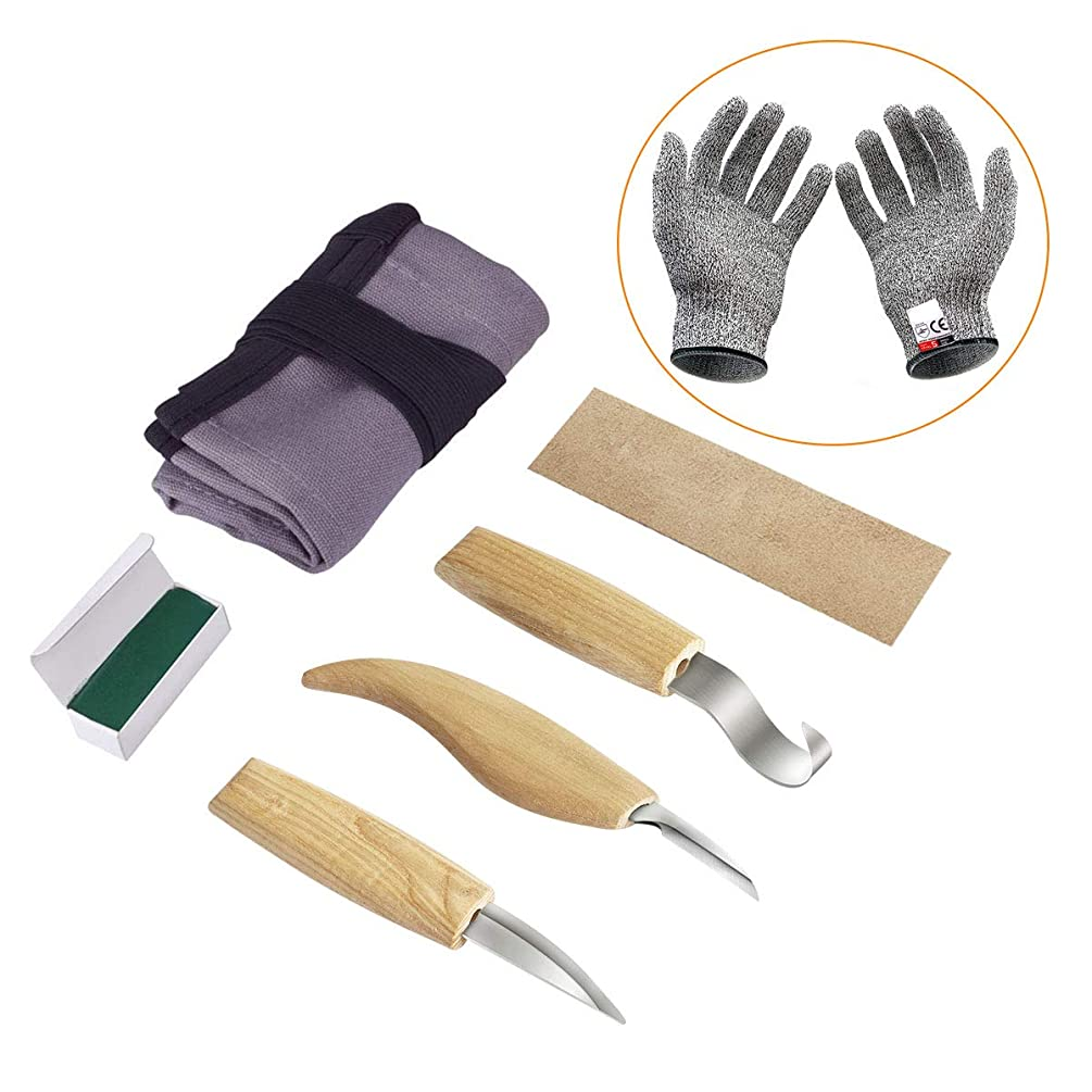 Fy-Light Wood Carving Tools Set, 5PCS Wooden Carving Knives Kit & 1-Pair Cut Resistant Gloves for Carving Chipping Whittling