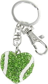 Large Love Tennis Heart Shaped Ball Rhinestone Key Chain- with Green Crystals and White Enamel