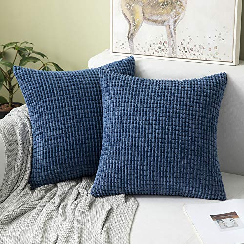 MIULEE Set of 2 Corduroy Soft Big Corn Solid Decorative Square Throw Pillow Covers Cushion Case For Sofa Bedroom 40 x 40 cm 16 x 16 Inch Granule Navy Blue