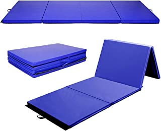 Giantex 4'x8'x2 Gymnastics Mat, Folding Anti-Tear Gymnastics Panel Mats w/Carrying Handles and Velcro, Lightweight Tumbling Mat, Folding Gymnastics Mats for Home, Gym, Fitness, Exercise, Aerobics, MMA