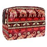 Bolsa de maquillaje portátil con cremallera, bolsa de aseo de viaje para mujeres, práctica bolsa de almacenamiento cosmético, sin costuras, elefantes, color rojo religión creencia