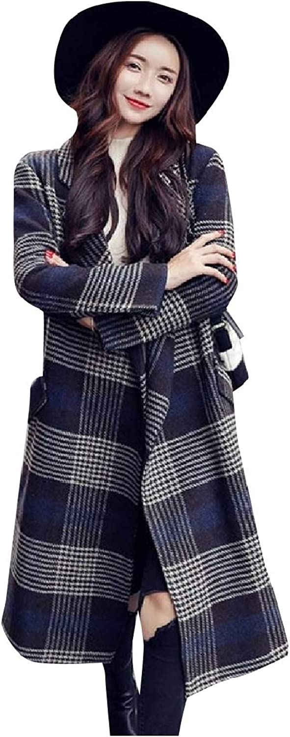Coolhere Womens Plaid Long Trench Open Front British Style Worsted Coat