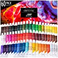 Acrylic Paint Set by Crafts 4 ALL Perfect for Canvas, Wood, Ceramic, Fabric. Non Toxic & Vibrant Colors. Rich Pigments Lasting Quality for Beginners, Students & Professional Artist (60 Color Pack)