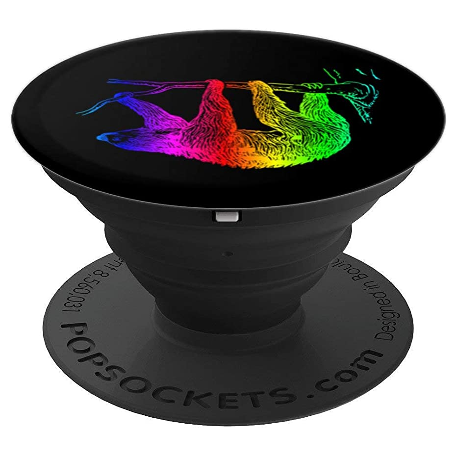 Chill Hanging Rainbow Sloth on Tree Black Background - PopSockets Grip and Stand for Phones and Tablets