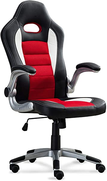 Belleze Race Seat Bucket Style Office Chair Ergonomic Computer PU Leather W Flip Up Armrest Red