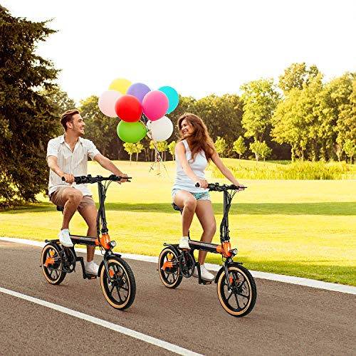 """Macwheel 16"""" Electric Folding Bike, 7.5Ah Lithium-ion Battery, Top Speed 15.5mph, Dual Disc Brakes, Electric Commuter Bicycle for People Aged 14 to 65 (LNE-16)"""