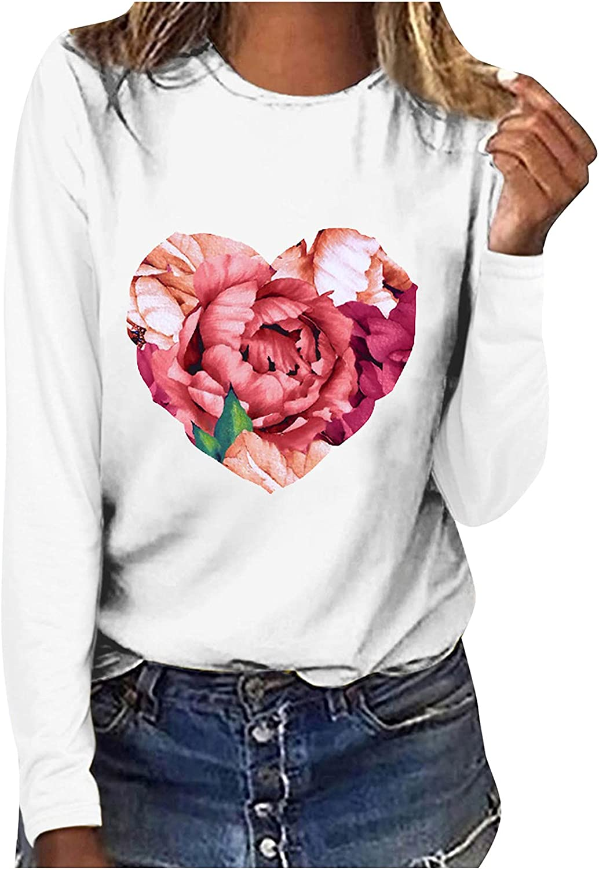 MEIbibibi Basic O-Neck Women Tee Shirts Fashion Flower Pattern T-Shirt Soft Lightweight Casual Top Blouse