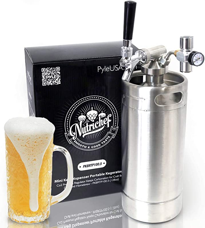 NutriChef Pressurized Growler Tap System Stainless Steel Mini Keg Dispenser Portable Kegerator Kit Co2 Pressure Regulator Keeps Carbonation For Craft Beer Draft And Homebrew PKBRTP100 5 128oz