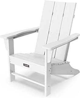 SERWALL Adirondack Chair Outdoor Classic Chair Weather-Resistant for Patio Deck Garden, Backyard Composite Chair Design-White