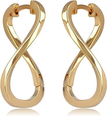 Tata Gisèle - Orecchini a cerchio a forma di simbolo dell'infinito, placcati oro 18 carati, con sacchetto di velluto incluso