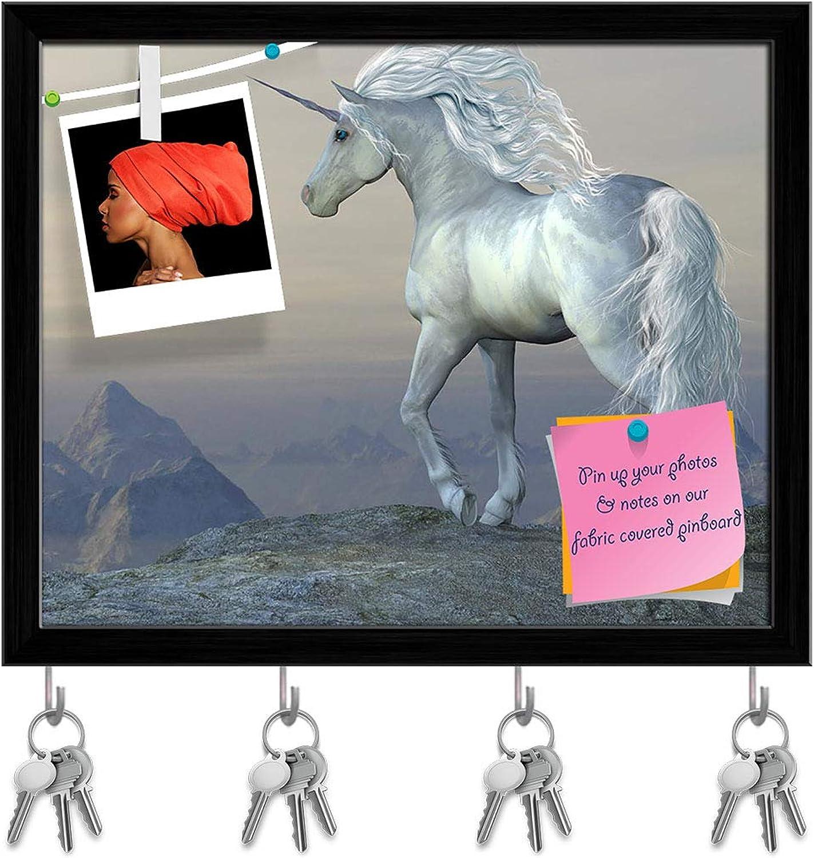 Artzfolio Unicorn blueff Key Holder Hooks   Notice Pin Board   Black Frame 19.8 X 16Inch