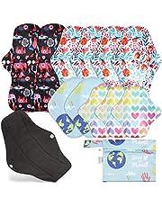 Rovtop Reutilizables de Carbón de Bambú para Noche - Almohadilla Menstrual Reutilizable Compresa Super Larga para el Cuidado Nocturno, Deportivo y Posparto + 1 Bolsa de Transporte Mini