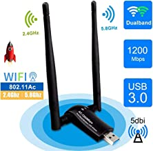 sumgott USB WiFi 1200Mpbs Antera Adaptador WiFi USB 3.0 Inalámbrico Dual Band Soporte de 5Ghz 867Mbps para PC con Windows XP/Vista / 7/8/10, MAX OSX