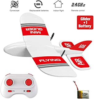 XFUNY KF606 2.4Ghz RC Airplane Mini Indoor Flying Aircraft EPP Foam Glider Toy Airplane Built-in Gyro RTF Remote Control Toys Kids Gifts (KF606+1 Battery)
