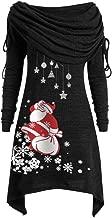YANYUN Christmas Women Blouses Plus Size Long Sleeve Fold-Over Collar Ruched Long Fashion Fall Shirts Santa Claus Tunic Tops